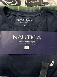 Nautica Men's Sleepwear 2 Pc Navy Short Sleeve Shirt And Flannel Pants SIZE Med.