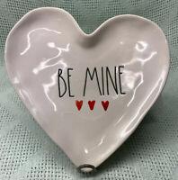 New! Rae Dunn Dessert HEART SHAPED Plate BE MINE Hearts LL Valentine's Day Decor