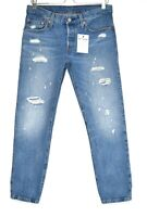Womens Levis 501 ct BOYFRIEND Tapered Blue Ripped Cropped Jeans Size 8 W26 L32