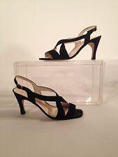 Women's Delman Classic Black Suede Strappy Sandal Size 8 1/2 M