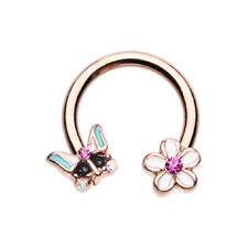 Rose Gold Spring Butterfly Flower Horseshoe Circular Barbell Silver CZ Fuchsia