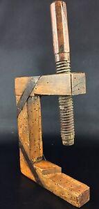 Antique XIXème ou avant, serre joint de menuisier ou ébéniste en bois et fer