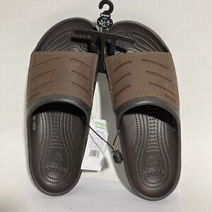 Crocs Bogota Slide Beach Sandals Men's Size 12 Espresso khaki Brown Flip Flops