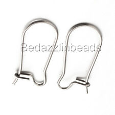 10 Dark Silver 304 Stainless Surgical Steel 20mm Plain Kidney Earring Findings