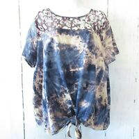New Umgee Top 2X Purple Tie Dye Leopard Tie Front T Shirt Plus Size