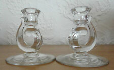 PAIR Vintage Fostoria CENTURY Glass Clear Crystal Candlestick Candle Holders