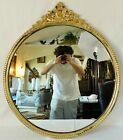 """Beautiful Large Antique/Vintage 34"""" Ornate Round Gold Wood Framed Wall Mirror"""