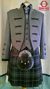 Scottish/Irish Kyle Grey Wool Kilt Jacket With Waistcoat/Vest - Sizes 36''- 54''