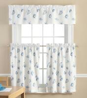 Seashell 3 Piece Curtains Set Tiers Valance Nautical Shell Blue White