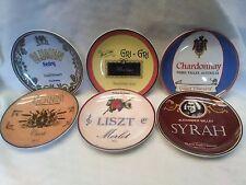 "BIA Cordon Bleu Blumen Riesling Liszt Merlot Chardonnay Wine Label Plate Set 6"""