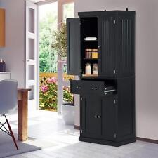 Black Standing Storage Cabinet Tall Kitchen Cupboard Shelves Drawers Larder Unit