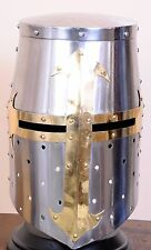 Crusader Great Helm Medieval Knights Templar Helmet Armor - Carbon Steel Forged