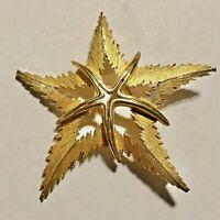 "Vintage Starfish Brooch Pin Signed JJ Gold Tone 2.5"""