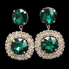 Clip De Tornillo Verde Gota De Cristal Oro Moda pendientes non-pierced Rhinestone