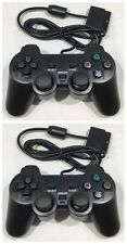 DUAL SHOCK CONTROLLERS VIBRATE X 2 FOR THE PLAYSTATION 2 BRAND NEW PS2 BLACK