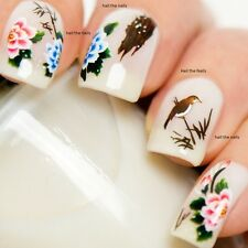 Nail Art Wraps Decals Water Transfer Vintage Oriental Blossom Birds Lily Y1812