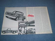 """1973 Chevy C10 Cheyenne Step Side Pick Article """"Slow Freight"""" Street Machine"""