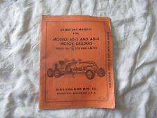 Allis-Chalmers AD-3 AD-4 motor grader operator's manual