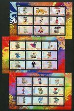 Rwanda Disney Characters & Mushrooms Set Of 3 Sheets Of 9 Mint Never Hinged