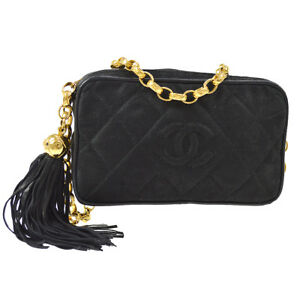 CHANEL Quilted CC Fringe Chain Shoulder Bag Black Canvas Leather AK36801c