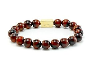 Mens Red Tigers Eye Bracelet-Essential 24k Gold Bead bracelet For Men