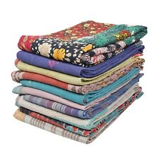 10 PCs Lot Vintage Kantha Quilt Indian Reversible Handmade Throw Gudri Rally