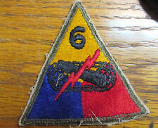 Off Uniform WW 2 US Army 6th Armored Division Wool Patch