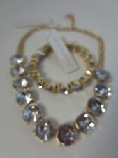 Ann Taylor Round Crystal Choker Necklace 69 & Bracelet NWT $39.50 set of 2