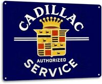 Cadillac Authorized Service Retro Logo Dealer Garage Wall Decor Metal Tin Sign