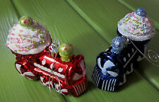 2 Train CUP CAKE Candy Sugar GIFT CHRISTMAS SEASONAL HOLIDAY DECOR ORNAMENT