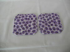 Set of two handmade hot drink coasters, mug mats. Purple daisies print fabric