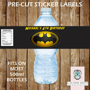PERSONALISED BATMAN WATER BOTTLE LABELS BIRTHDAY PARTY FAVOURS GIFT BAGS