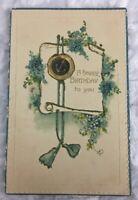 Greetings Birthday Postcard Old Vintage Card #1408 Germany Blue Forget Me Not