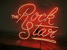 "Used The Rock Star Neon Light Sign 54x42"" Beer Cave Gift Lamp Bar Game Room"