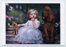 ART Kids Child Children Little Girl Big Dog Cat Kitten New Modern Postcard #1