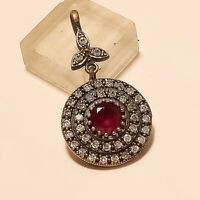 Natural Red Ruby Pendant 925 Sterling Silver Turkish Women Wedding Jewelry Gifts
