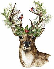 Shabby Watercolor Christmas Deer Head Holly On Horns Waterslide Decals CHR261