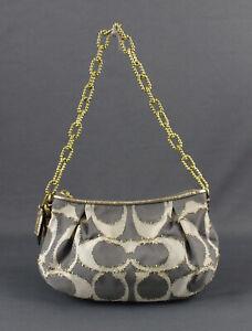 Coach NWOT Gray Beige Gold Fringed Logo Fabric Chain Strap Handbag