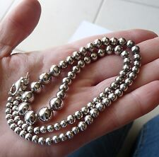 "SOLID SILVER BEADS NECKLACE BIJOU VINTAGE ""ancien"" COLLIER EN ARGENT MASSIF 28 g"