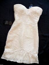 NWT bebe top Dress beige cream strapless bustier ruffle sheer bodycon L large 10
