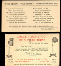 1941~ 2 ADV POSTCARDS, EL PASO TX, J BOLANDER BEAUTY SHOP EQUIPTMENT PC4622