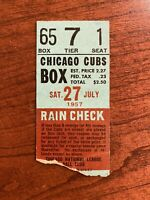 1957 Chicago Cubs vs Philadelphia Phillies Ticket At Wrigley Field Ernie Banks