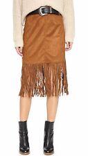 Womens Tan Brown Suede Fringed Skirt Cowgirl Tassel Retro Festival Midi Pencil