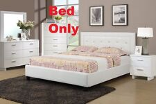Faux Leather White Queen Size Bed 1 Piece Bedroom Furniture Modern