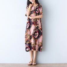 UK SELLER UK 24 Zanzea Women Floral Crewneck Shortsleeve Aline Long Dress