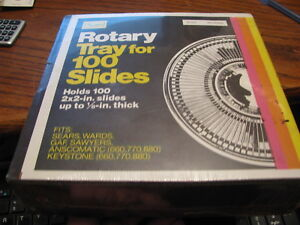 Sears Rotary Tray for 100 Slides Holds 100 2X2 inch Slides **SEALED** Lot# UP CO