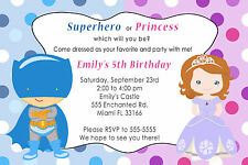 30 Superhero Princess Invitation Cards Kids Birthday Party Girl Boy Twins A1