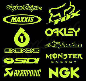 10 X Motocross MX Racing Sticker Kit - Sponsors Decals Fluorescent YELLOW Vinyl