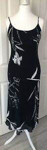 Ladies Black And White Midi Summer Dress UK Size 12 Floral Holiday