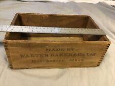 Vintage WALTER BAKER Co PREMIUM WOOD Wooden CHOCOLATE BOX DORCHESTER MASS